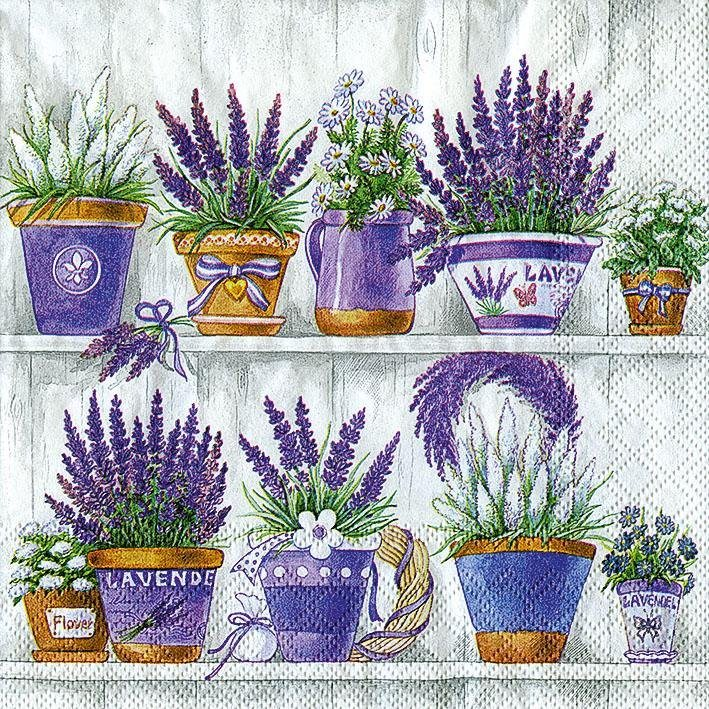"Serviette ""Lavendeltöpfe"""