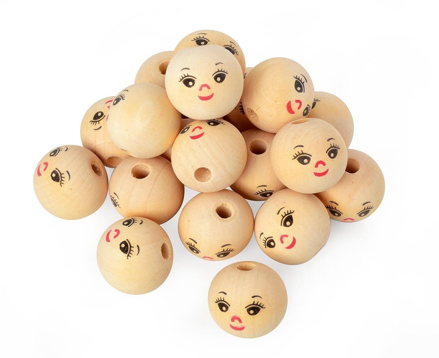 VBS Großhandelspackung Holzkugeln mit Gesicht, 25 Stück, Ø 30 mm