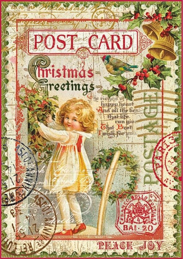 "Stamperia Motiv-Strohseide ""Postcard Angel"""