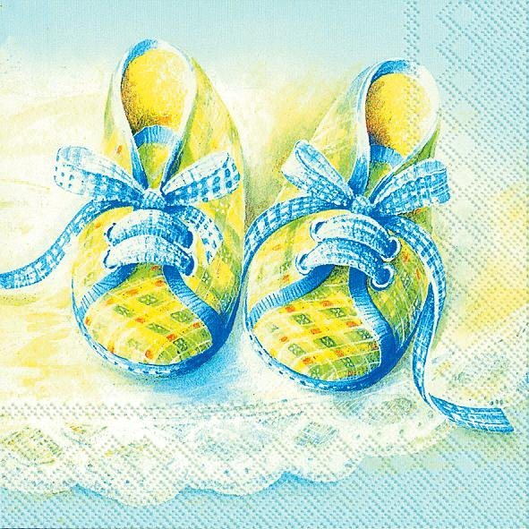 "Serviette ""Baby Shoes blue"""