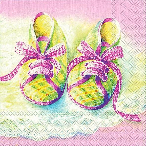 "Serviette ""Baby Shoes rose"""
