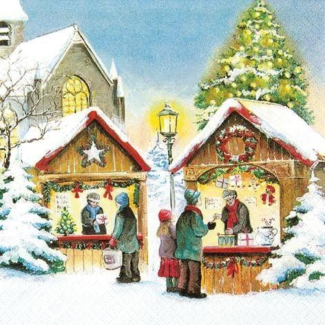 """Serviette """"Weihnachtsbude"""""""