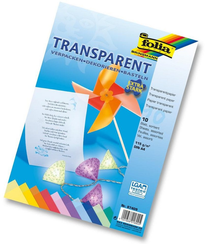 Folia Transparentpapier, 10 Blatt