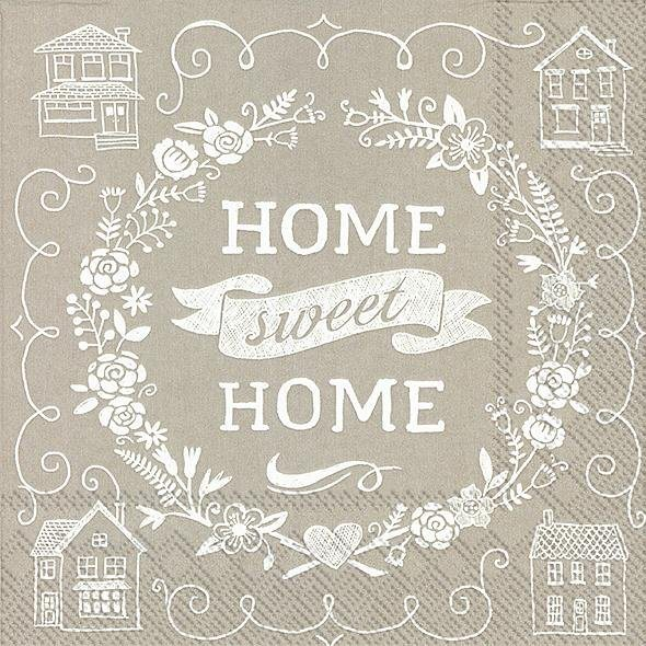 """Serviette """"Sweet Home Taupe"""""""