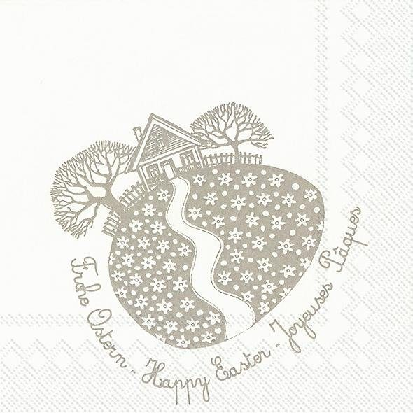 "Serviette ""Frohe Ostern, taupe"""