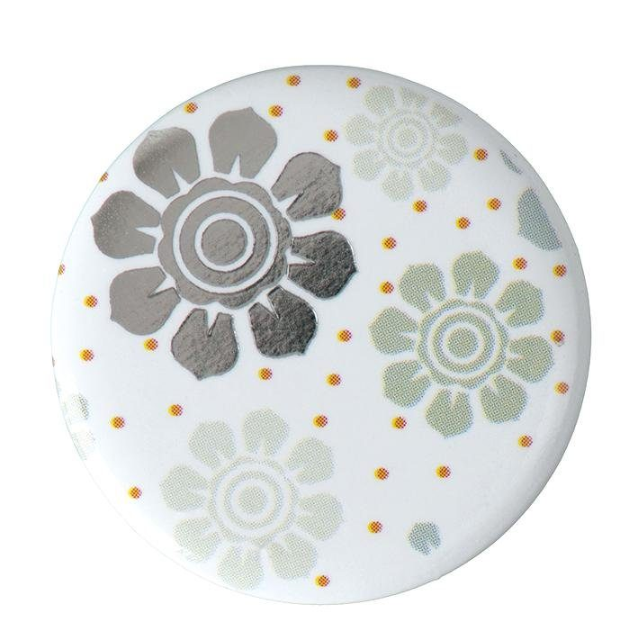 "Button ""Blumen Mint-Braun"""