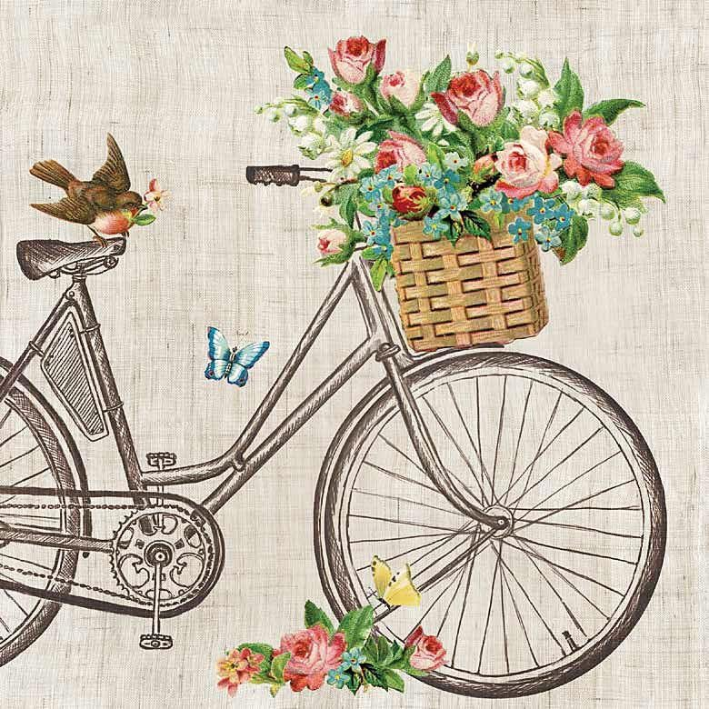 "Serviette ""Flower Bike"""