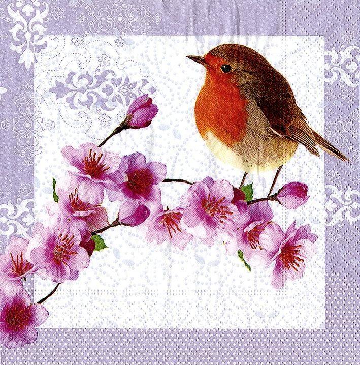 """Serviette """"Robin im Frühling"""""""