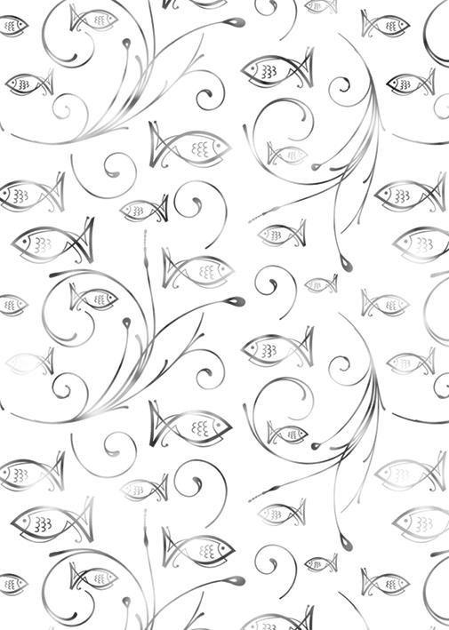 """Ursus Designkarton """"Charity Fische silber"""" 5 Stück"""
