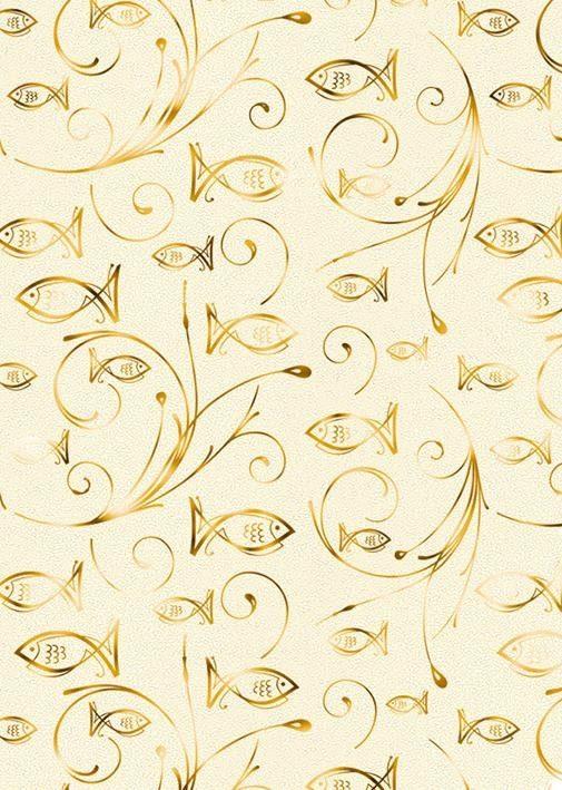 """Ursus Designkarton """"Charity Fische gold"""" 5 Stück"""