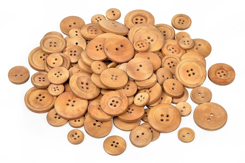 VBS Großhandelspackung 100 g Holzknöpfe, Mix in 4 Größen
