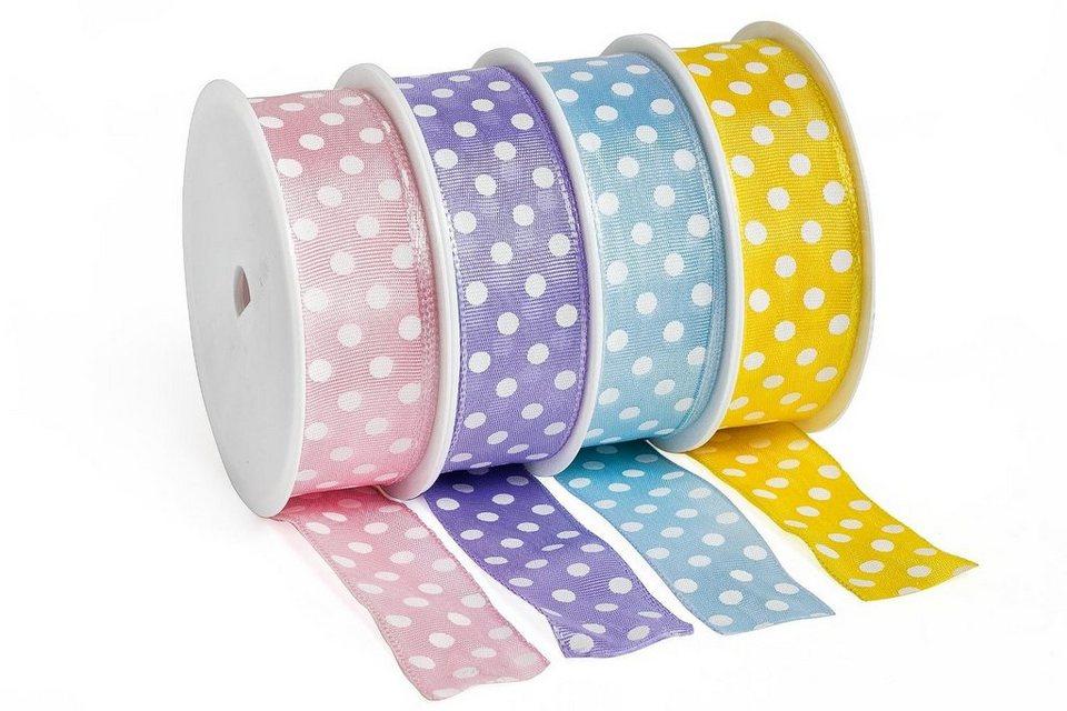 "Schleifenband ""Pastell Dots"", 4er-Set"
