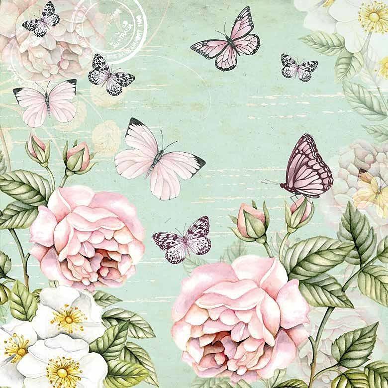 "Serviette ""Rosen & Schmetterlinge"""