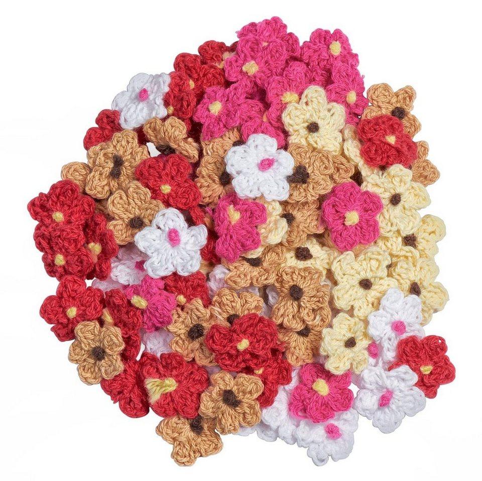 VBS Großhandelspackung 100 Häkelblumen, bunt sortiert