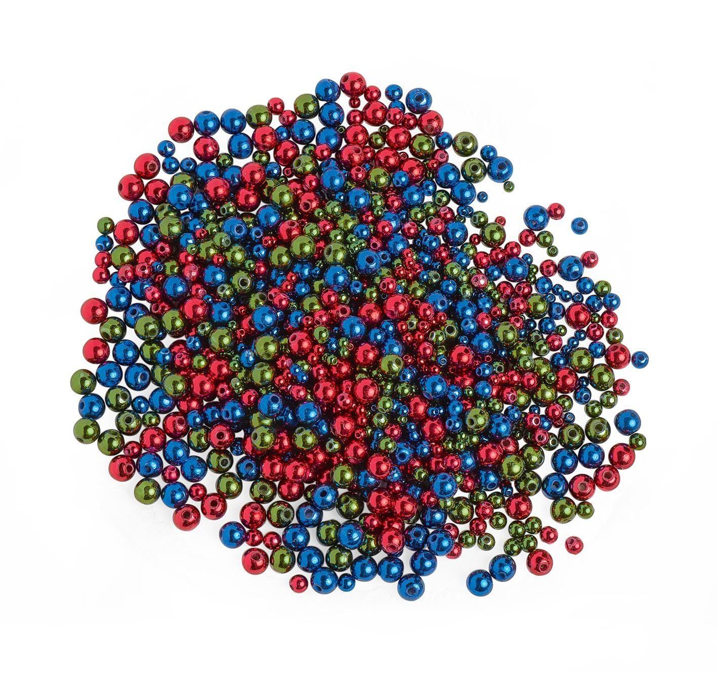Wachsperlen Metallic Mix, Rot-Blau-Grün, 1000 Stück