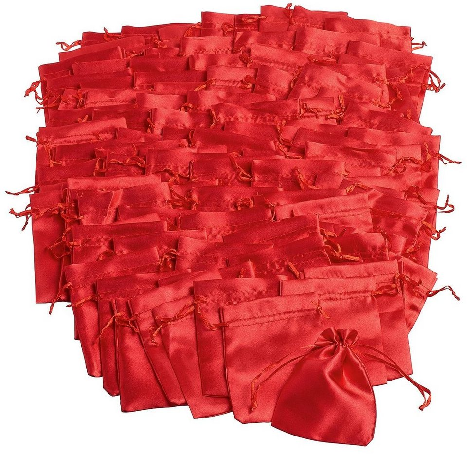 VBS Großhandelspackung 100 Satinbeutel, rot