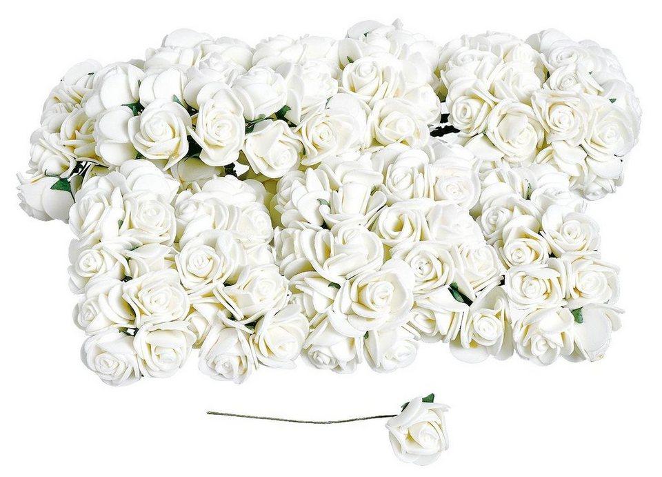 VBS Großhandelspackung 144 Mini-Röschen, creme-weiß