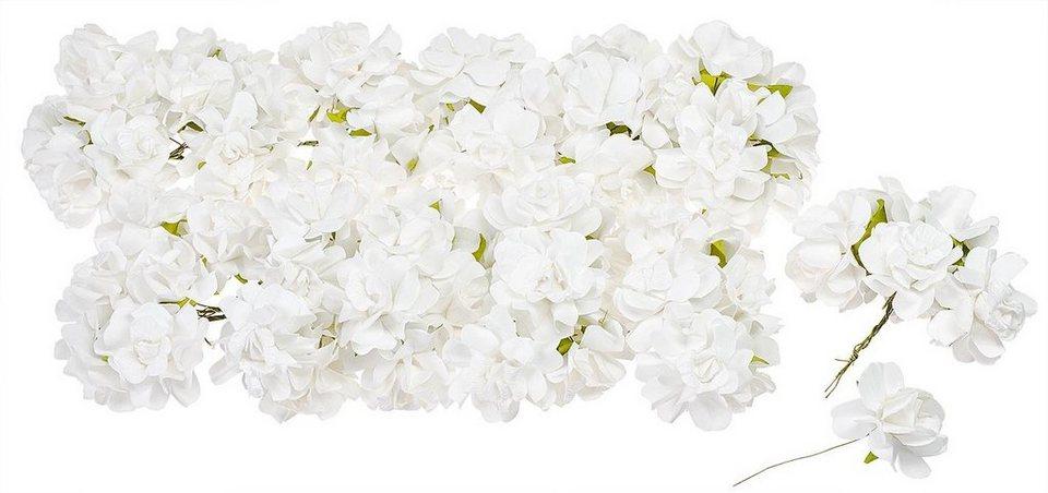 VBS Großhandelspackung 72 Papierblüten, weiß
