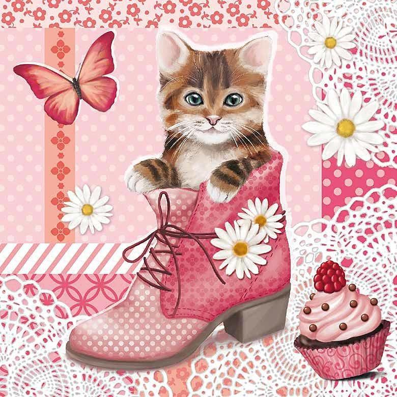 """Serviette """"Kätzchen im Schuh"""""""