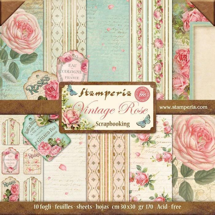 "Stamperia Scrapbook-Block ""Vintage Rose"""