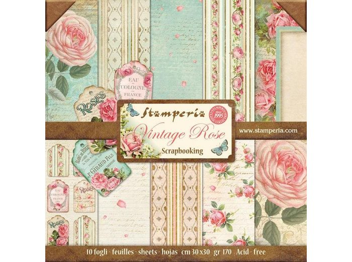"Scrapbook-Block ""Vintage Rose"""