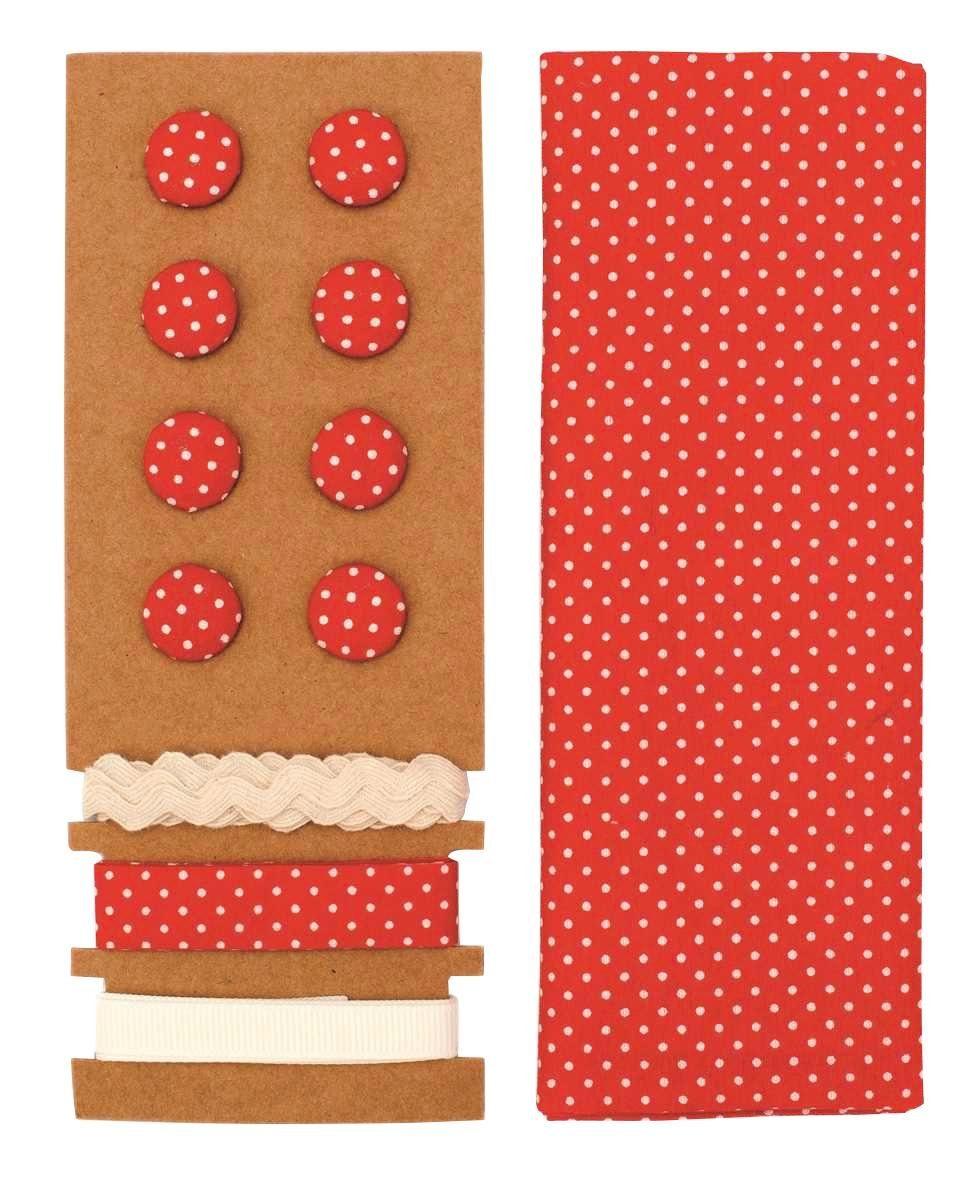 "Textilset ""Lili Rose"", Punkte rot"