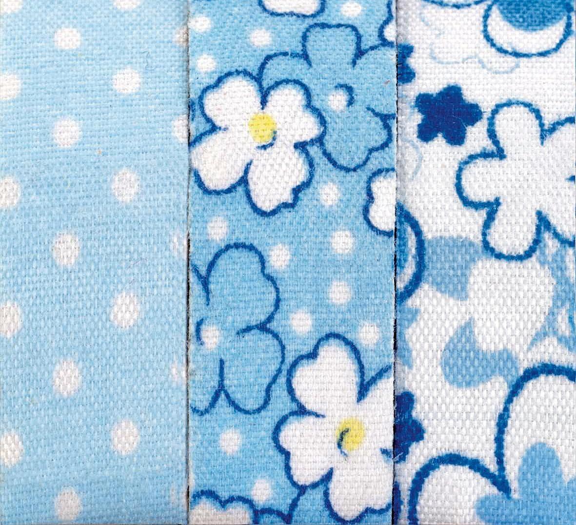 """Textilbänder Lli Rose """"Blumen und Punkte"""", blau"""