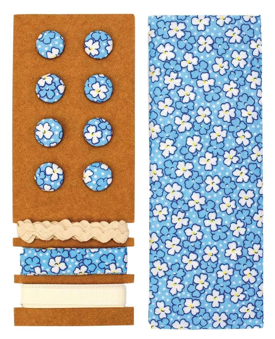 "Textilset ""Lili Rose"", Blümchen weiß-blau"