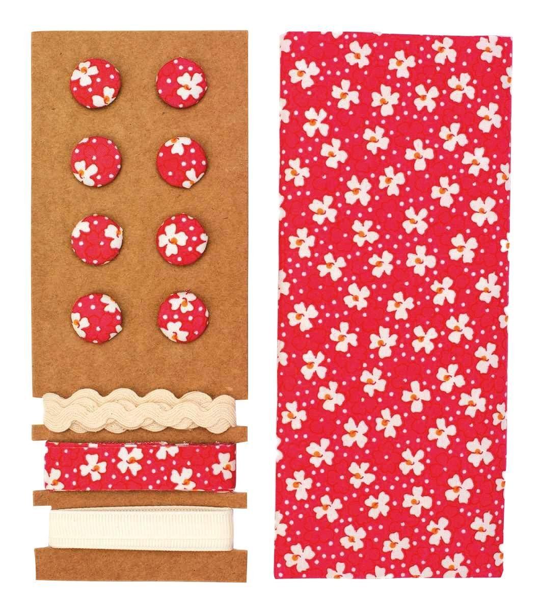 """Textilset """"Lili Rose"""", Blümchen weiß-rot"""