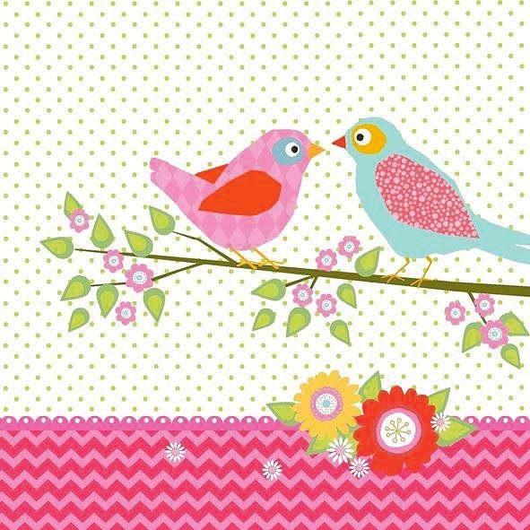 "Serviette ""Lovely Birds"""