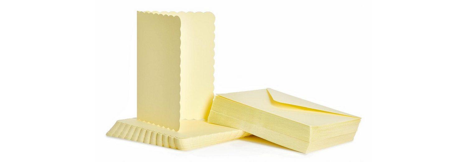 """Doppelkarten """"Wellenrand"""" mit Umschlägen DIN A6 elfenbeinfarbig"""