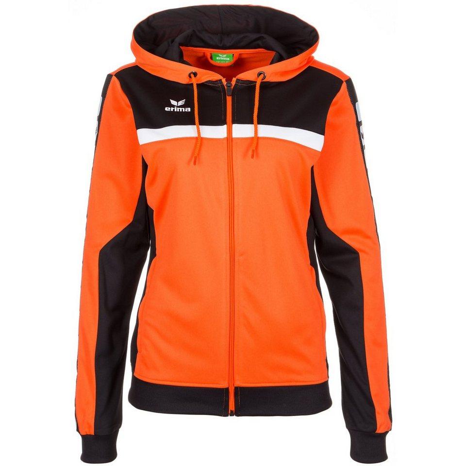 ERIMA 5-CUBES Trainingsjacke mit Kapuze Damen in orange/schwarz/weiß