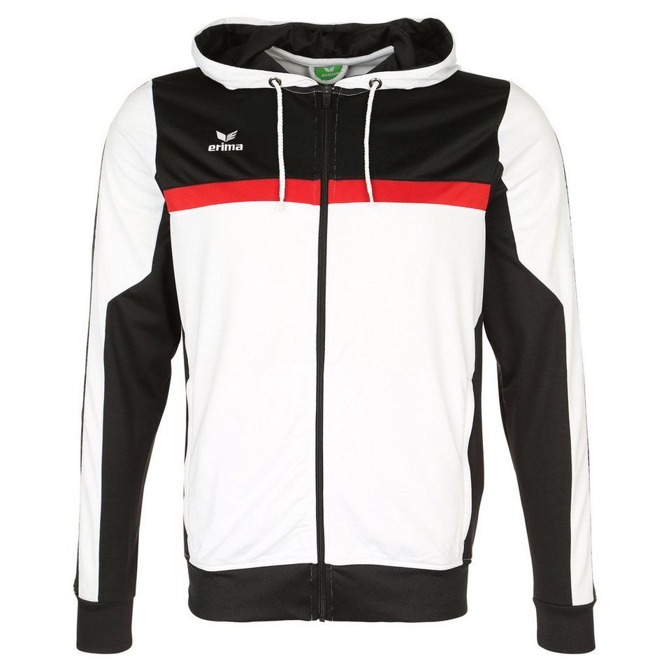 ERIMA 5-CUBES Trainingsjacke mit Kapuze Herren in weiß/schwarz/rot