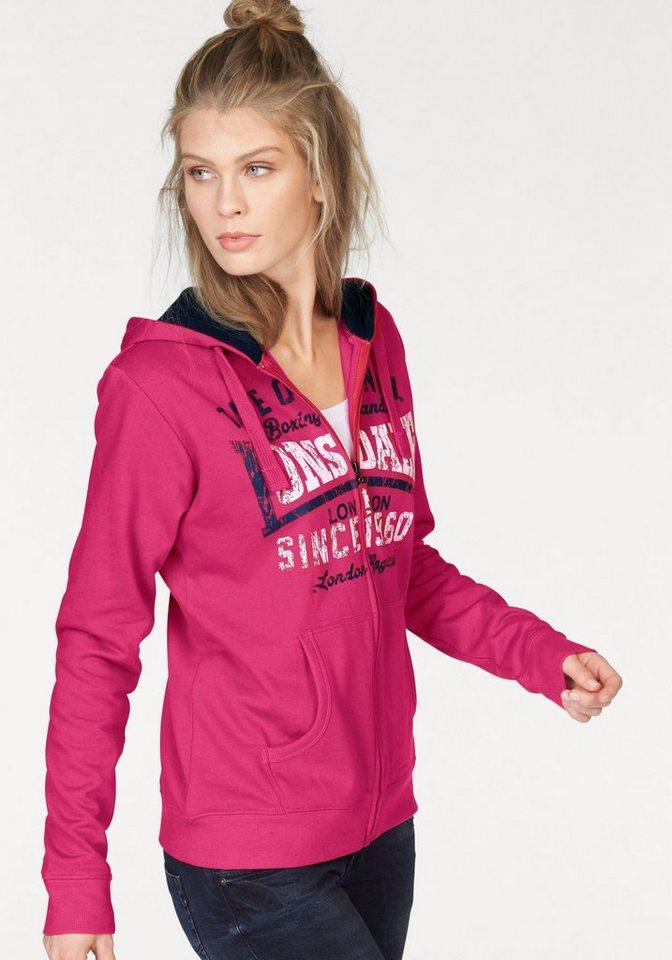 Lonsdale Kapuzensweatjacke »WYCOMBE« in pink