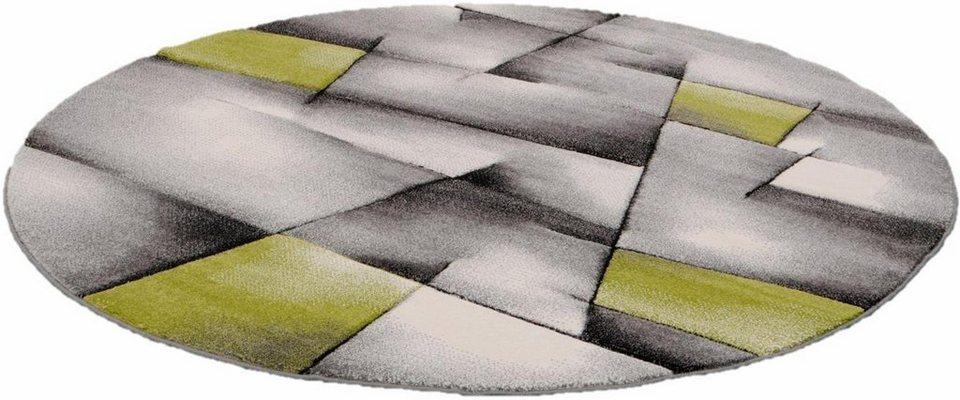 Teppich, rund, Merinos, »BRILLIANCE«, Handgearbeiteter Konturenschnitt in grün