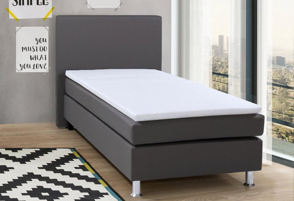 Boxspringbett inkl. Topper in grau uni, Webstoff