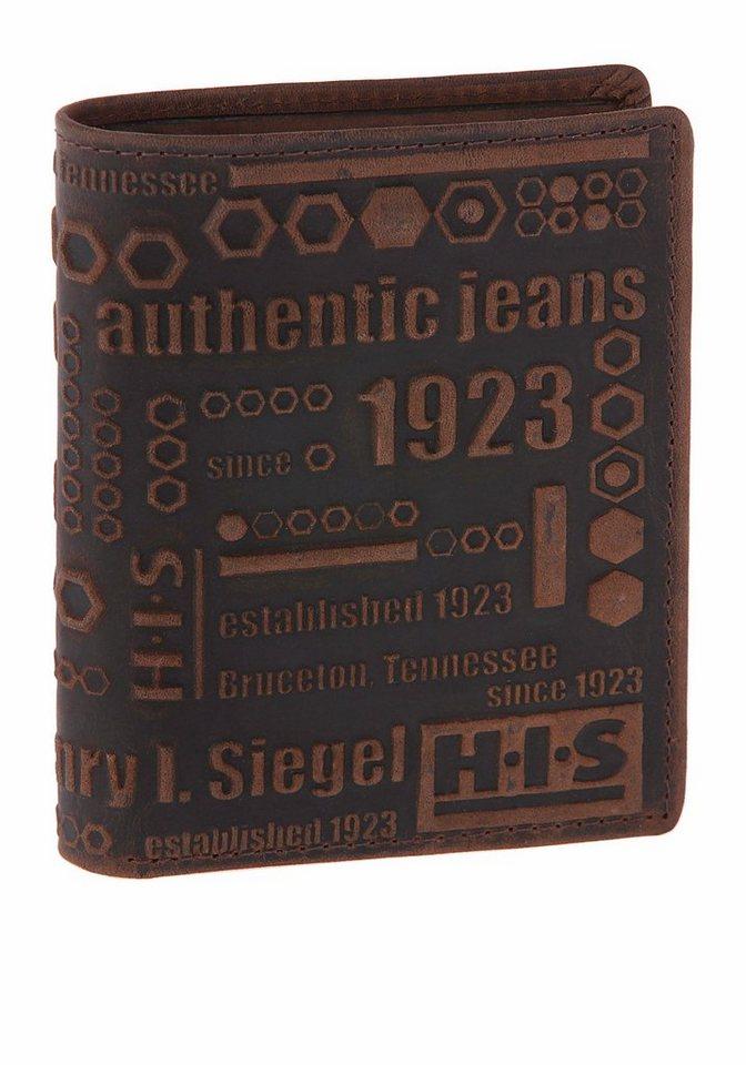 H.I.S Geldbörse mit Logoschriftzug in dunkelbraun