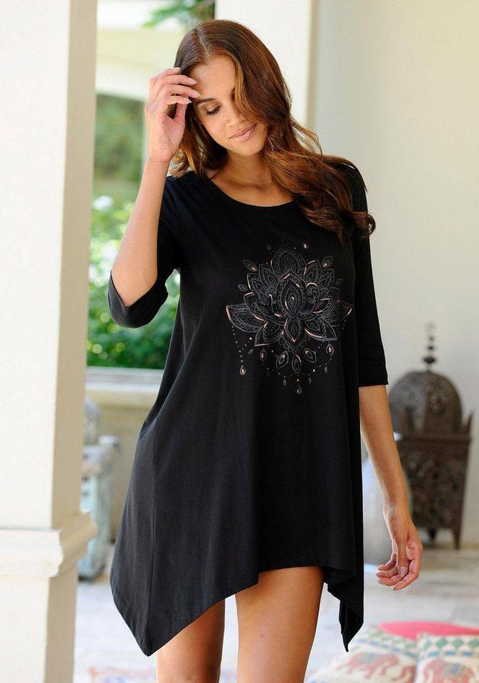 Marie Claire Nachthemd mit exotischem Frontprint in schwarz