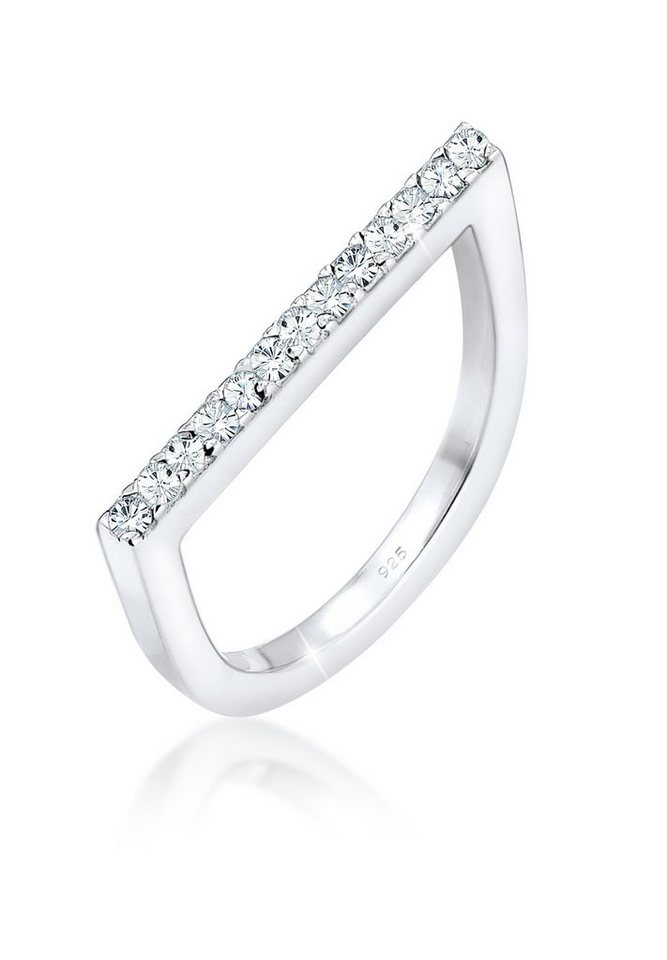 Elli Ring »Stacking Swarovski® Kristalle 925 Silber« in Weiß