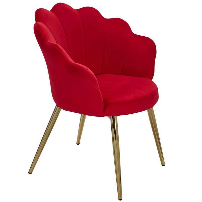FINEBUY Esszimmerstuhl »FB24127«, Tulpe Samt Rot Gepolstert, Küchenstuhl mit Goldfarbenen Beinen, Schalenstuhl Skandinavisches Design, Polsterstuhl mit Stoffbezug