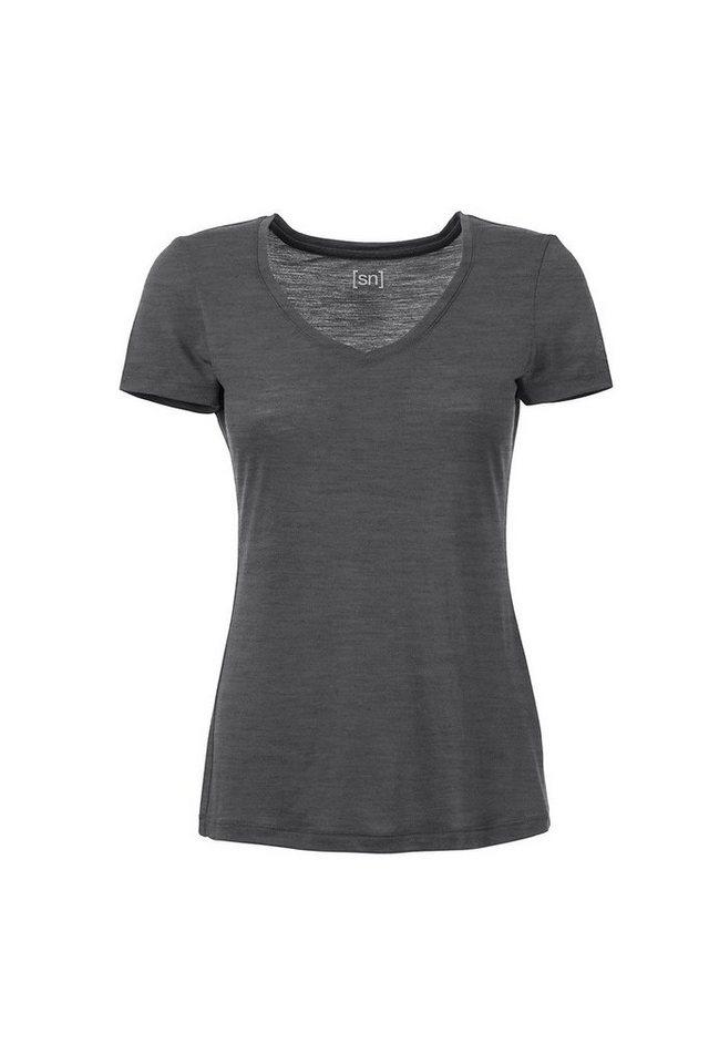 Super.Natural Merino T-Shirt »W BASE V NECK TEE 230« in QUIET SHADE MEL