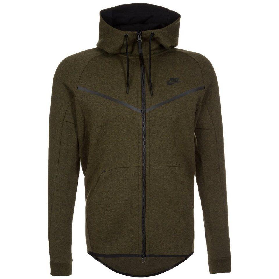 Nike Sportswear Tech Fleece Windrunner Kapuzenjacke Herren in dunkelgrün / schwarz