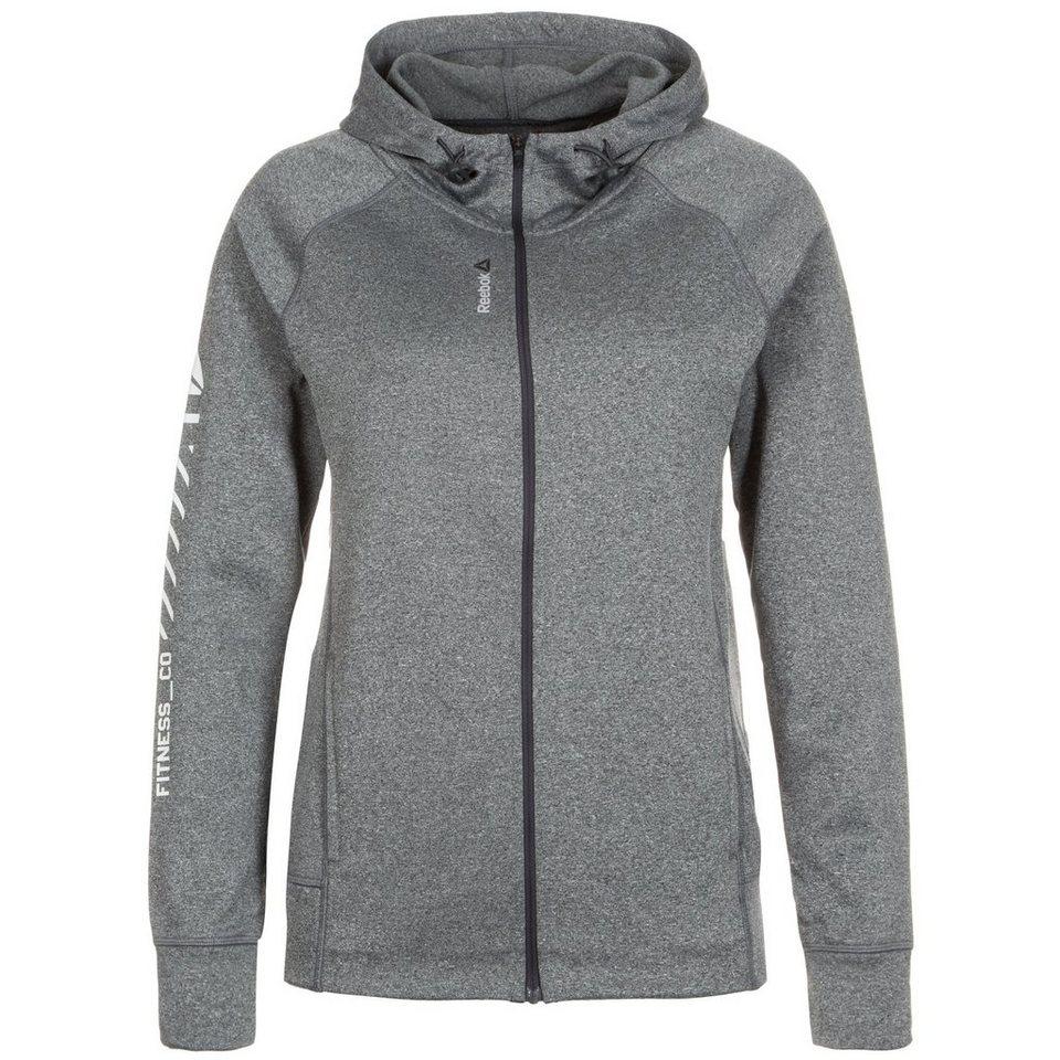 REEBOK Workout Ready Zip Trainingskapuzenjacke Damen in grau / weiß