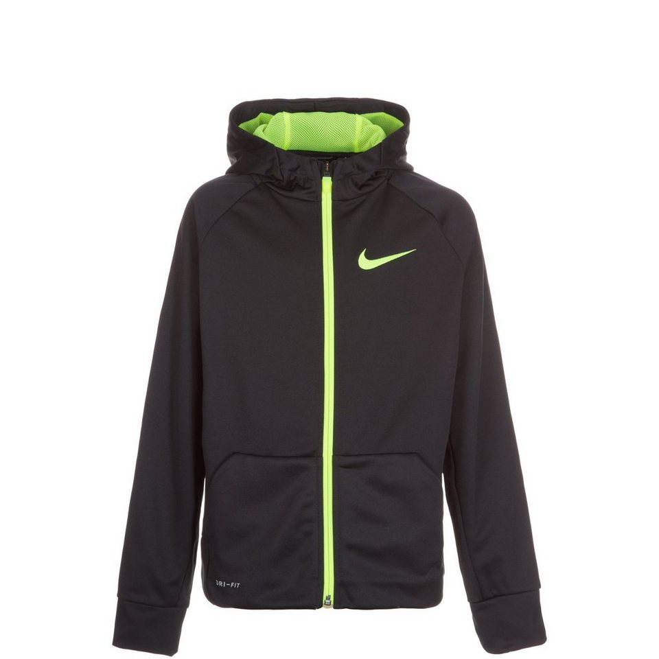 NIKE Therma Trainingskapuzenjacke Kinder in schwarz / neongelb