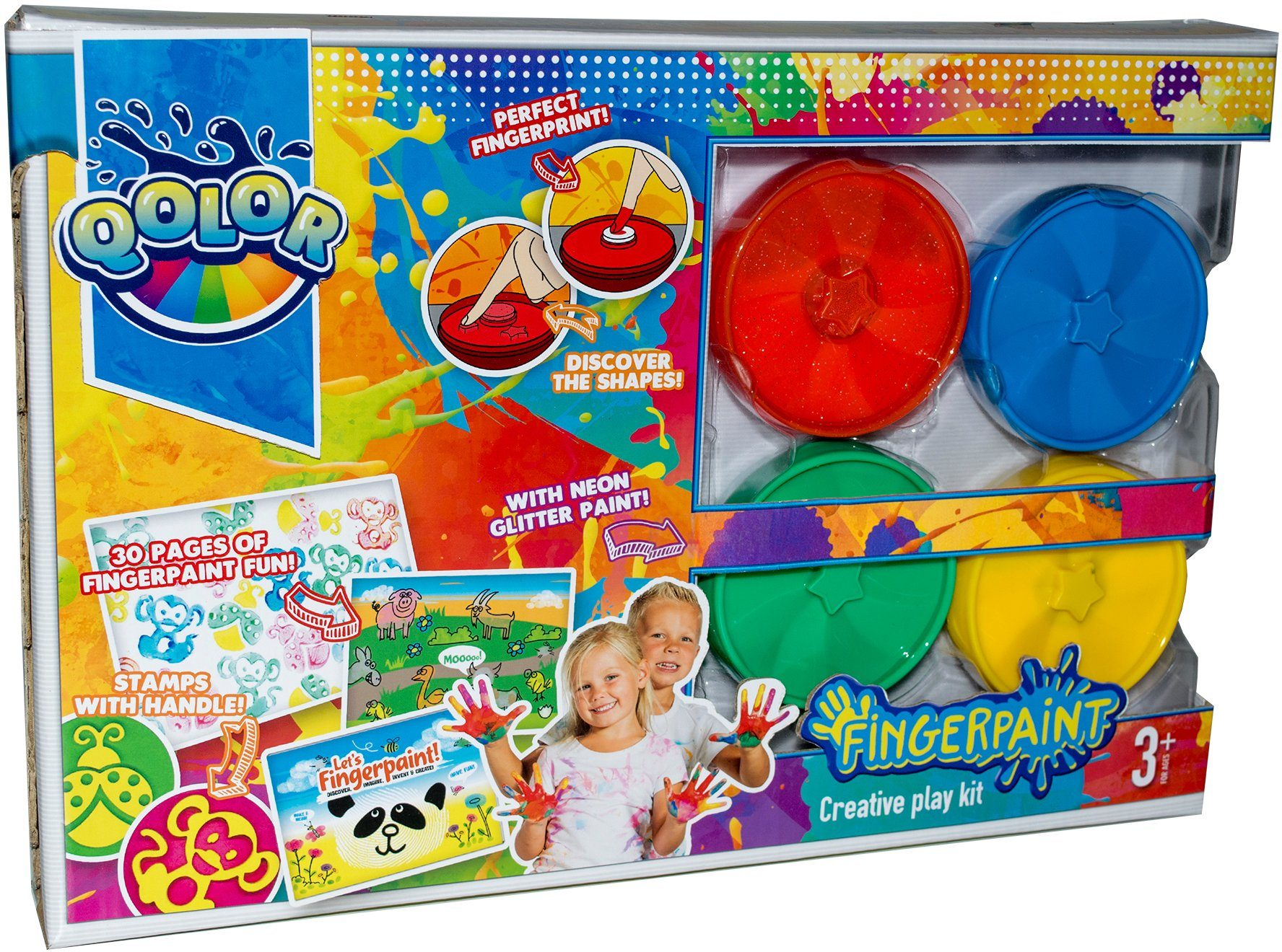 Fingerfarben Set mit Malbuch und Stempel, »Qolor Fingerpaint Creative play kit«