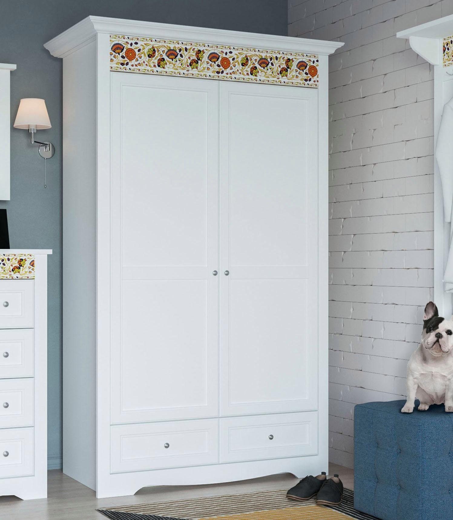 Home affaire Garderobenschrank »Elza«, weiß mit dekorativem Muster