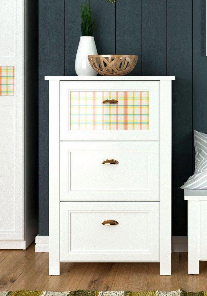 Home affaire Schuhkommode »Sonya« mit dekorativen Glaseinsätzen, Breite 73 cm in weiß
