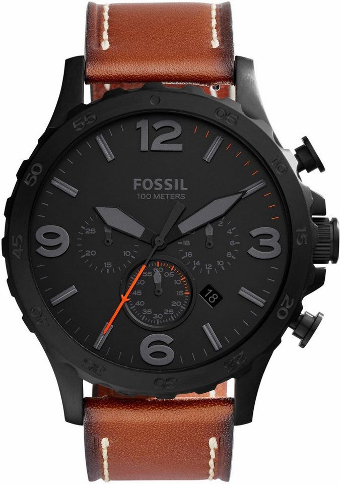 Fossil Chronograph »NATE, JR1524« in hellbraun