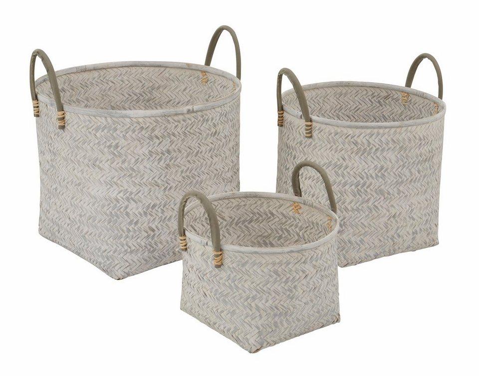 GMK Home & Living Bambus-Körbe, 3-teiliges Set in white washed-silberfarben