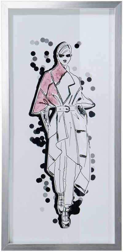 Guido Maria Kretschmer Home&Living Bild »Mode - Skizze«, mit silbernem Rahmen, 23/50 cm